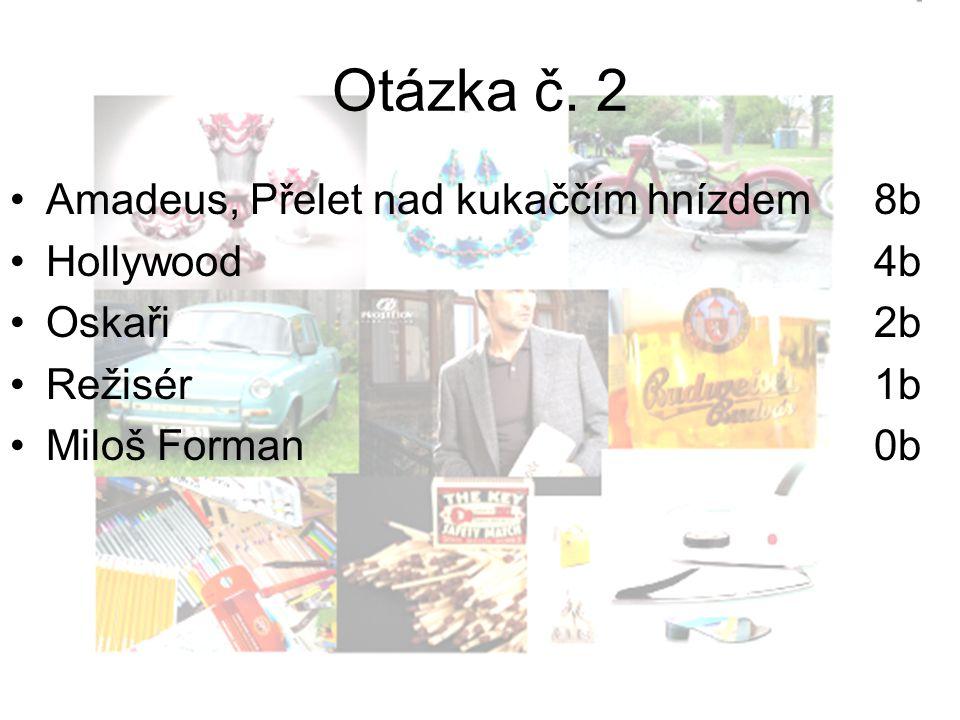 Otázka č. 2 Amadeus, Přelet nad kukaččím hnízdem 8b Hollywood4b Oskaři2b Režisér1b Miloš Forman0b