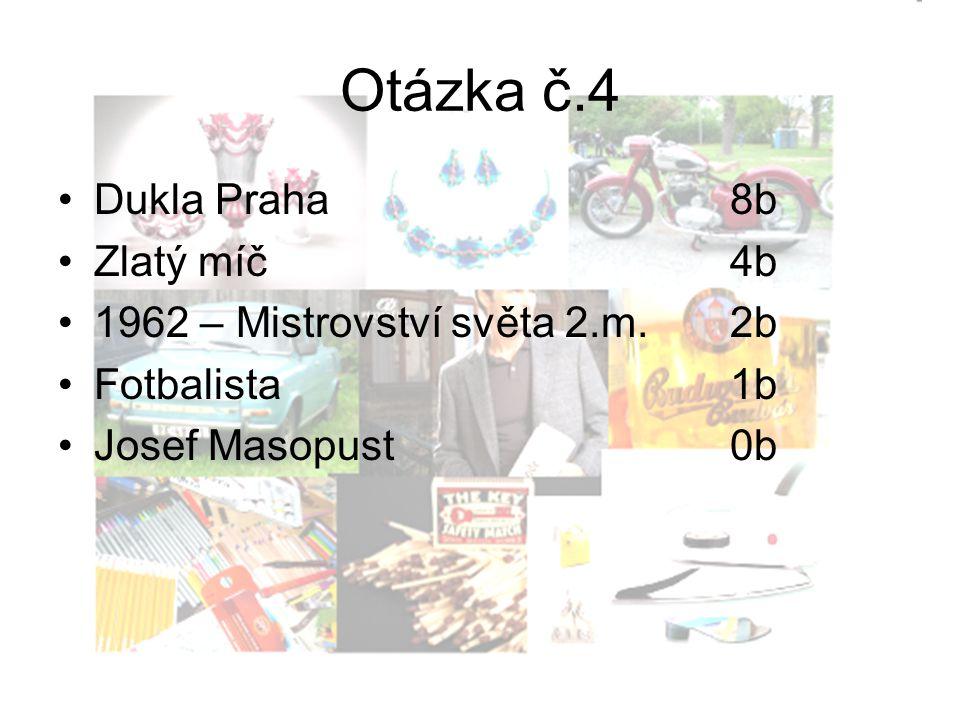 Otázka č.4 Dukla Praha8b Zlatý míč4b 1962 – Mistrovství světa 2.m.2b Fotbalista1b Josef Masopust0b