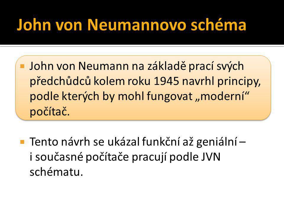 """ John von Neumann na základě prací svých předchůdců kolem roku 1945 navrhl principy, podle kterých by mohl fungovat """"moderní"""" počítač.  Tento návrh"""