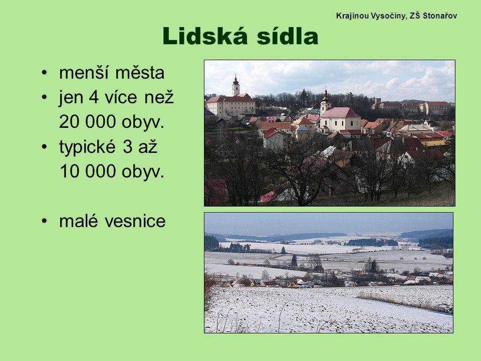 Krajinou Vysočiny, ZŠ Stonařov Lidská sídla menší města jen 4 více než 20 000 obyv. typické 3 až 10 000 obyv. malé vesnice