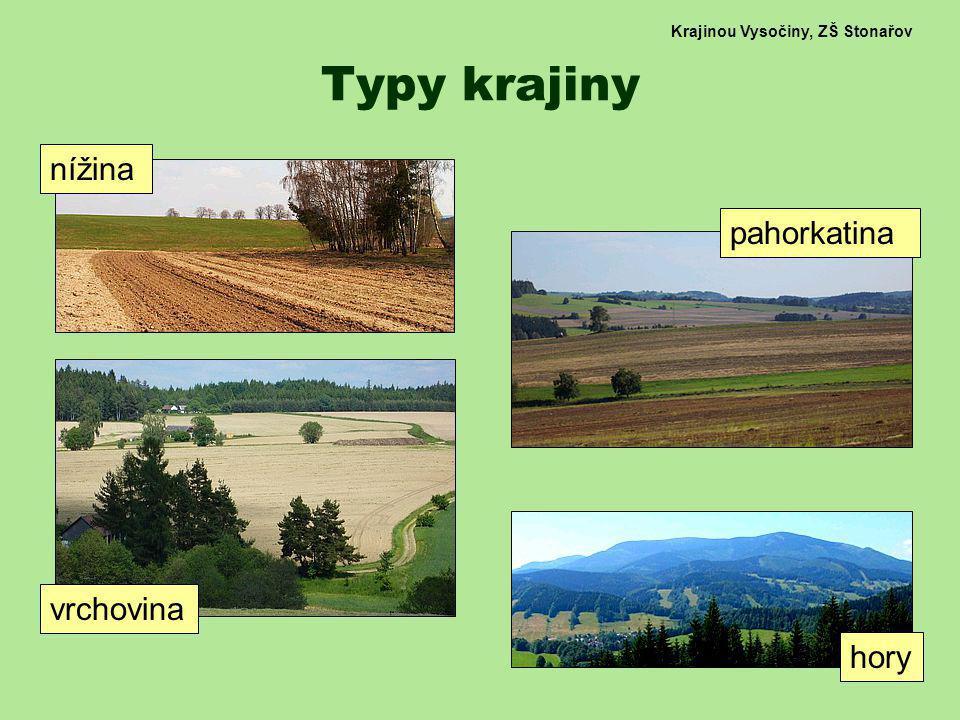 Krajinou Vysočiny, ZŠ Stonařov Typy krajiny nížina pahorkatina vrchovina hory
