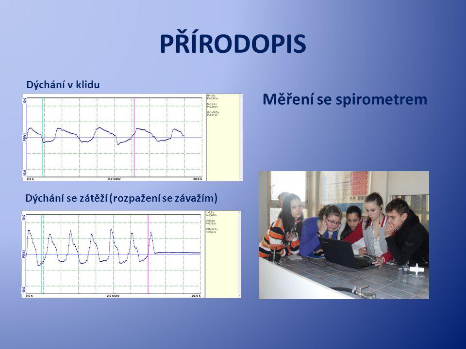 PŘÍRODOPIS Měření se spirometrem Dýchání v klidu Dýchání se zátěží (rozpažení se závažím)