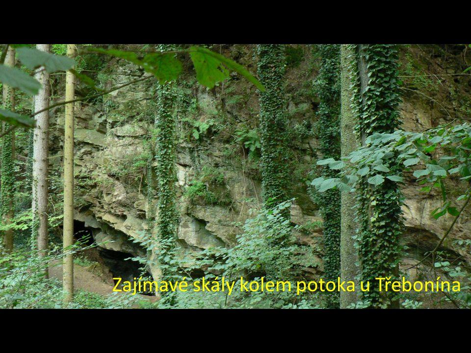 Zajímavé skály kolem potoka u Třebonína