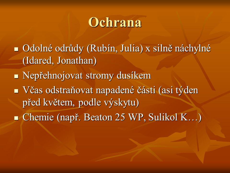 Ochrana Odolné odrůdy (Rubín, Julia) x silně náchylné (Idared, Jonathan) Odolné odrůdy (Rubín, Julia) x silně náchylné (Idared, Jonathan) Nepřehnojova
