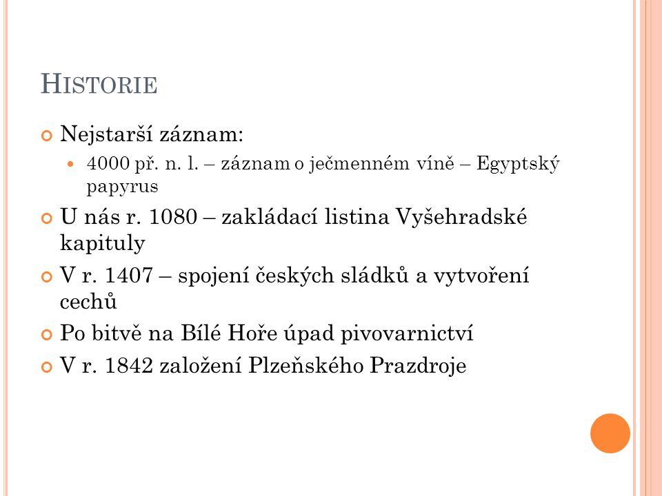 H ISTORIE Nejstarší záznam: 4000 př. n. l. – záznam o ječmenném víně – Egyptský papyrus U nás r. 1080 – zakládací listina Vyšehradské kapituly V r. 14