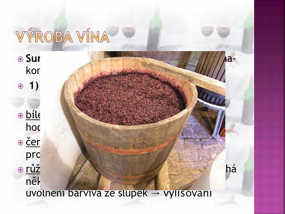  Surovina: čerstvé vinné hrozny (konec srpna- konec listopadu)  1) odzrnění- oddělení třapiny od dužiny - rmut= oddělené bobule  bílé víno- rmut se