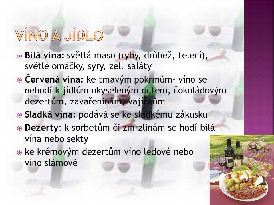  Bílá vína: světlá maso (ryby, drůbež, telecí), světlé omáčky, sýry, zel. saláty  Červená vína: ke tmavým pokrmům- víno se nehodí k jídlům okyselený