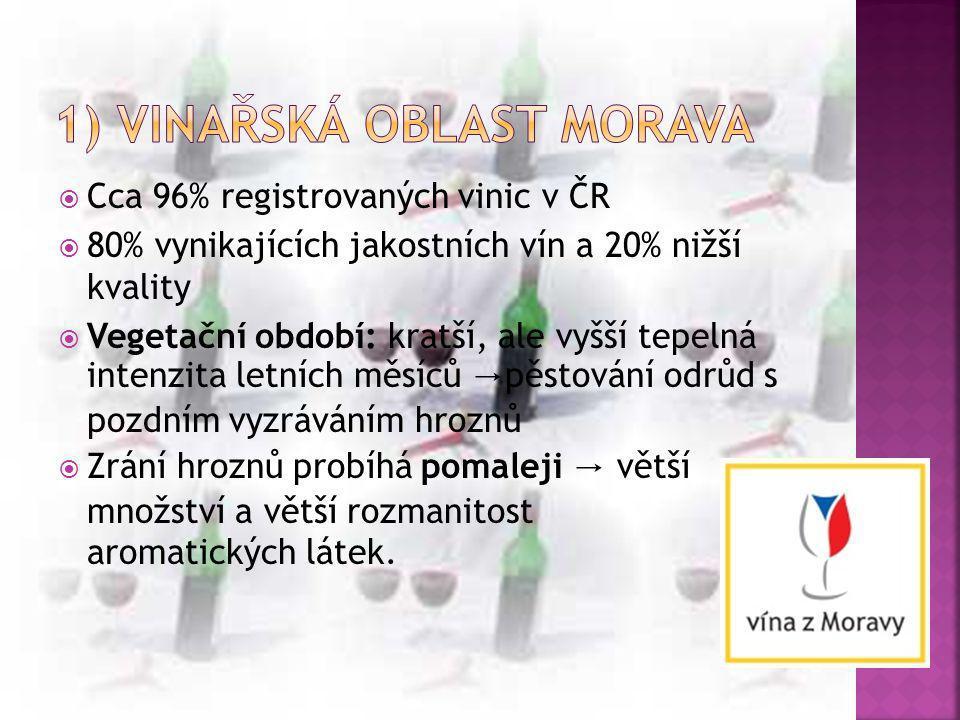 Cca 96% registrovaných vinic v ČR  80% vynikajících jakostních vín a 20% nižší kvality  Vegetační období: kratší, ale vyšší tepelná intenzita letn