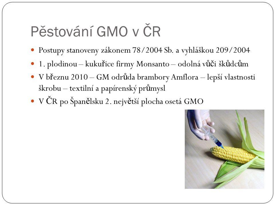 Pěstování GMO v ČR Postupy stanoveny zákonem 78/2004 Sb. a vyhláškou 209/2004 1. plodinou – kuku ř ice firmy Monsanto – odolná v ůč i šk ů dc ů m V b