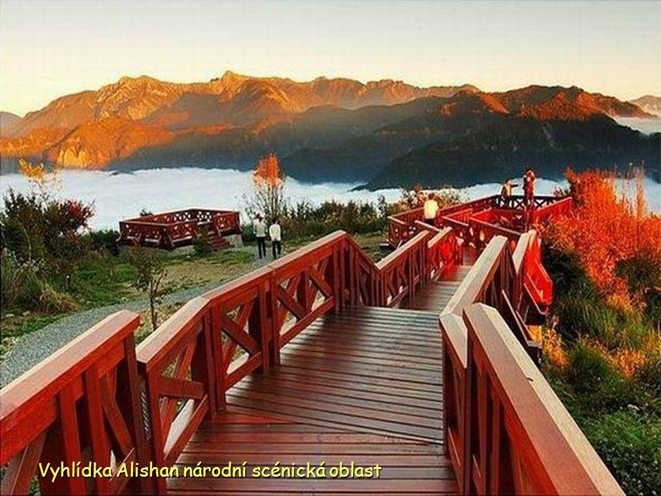 Východ slunce a moře mraků z Alishan národní scénické oblasti