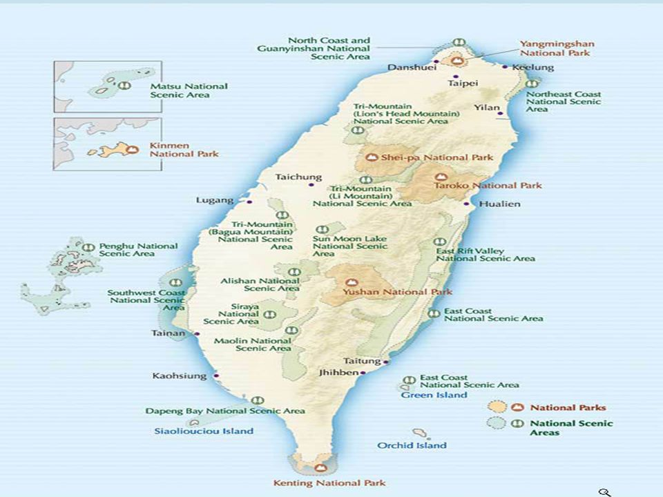 Taiwan, též Čínská republika. Odtržená provincie po prohrané občanské válce na pevnině v r. 1949. Hlavní město je Taipej. K republice patří ještě ostr