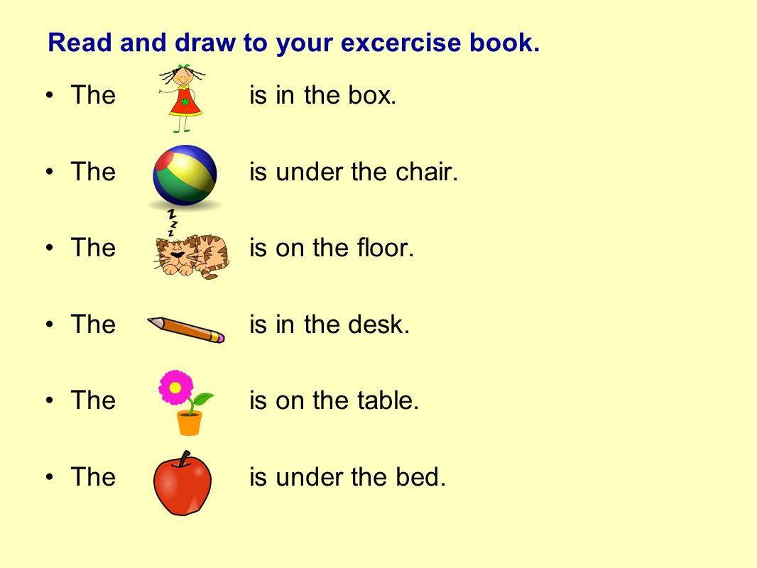 Read and draw to your excercise book. Theis in the box.