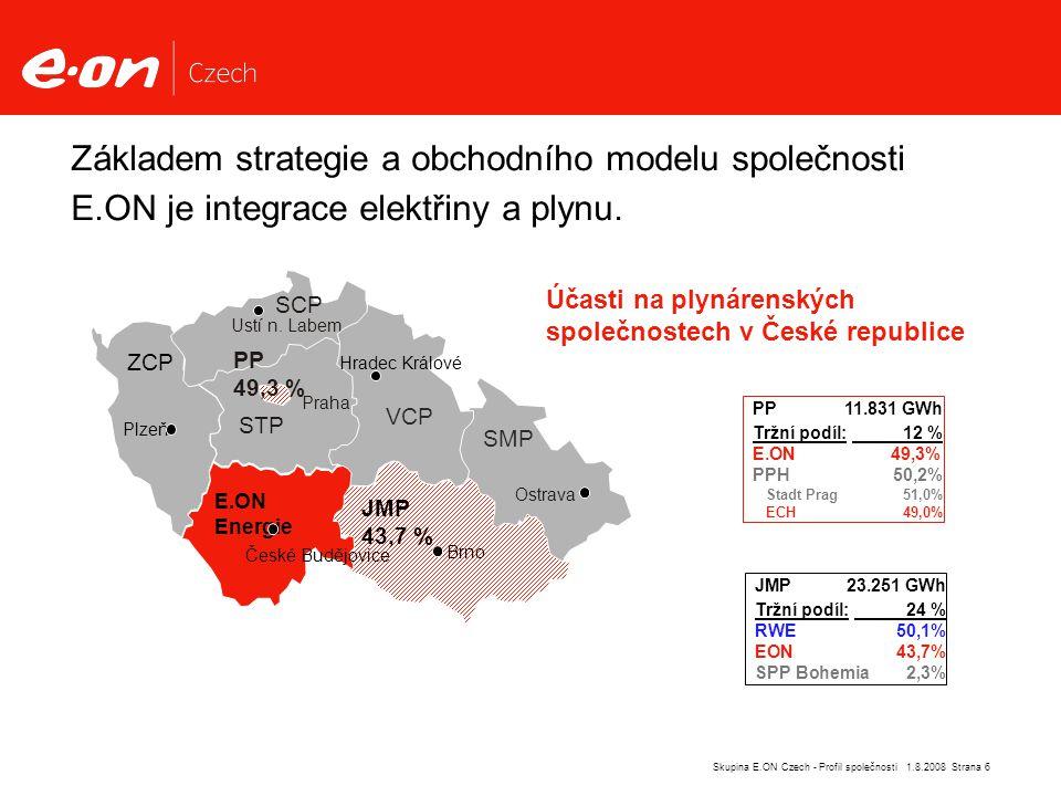 Strana 6Skupina E.ON Czech - Profil společnosti 1.8.2008 Základem strategie a obchodního modelu společnosti E.ON je integrace elektřiny a plynu.