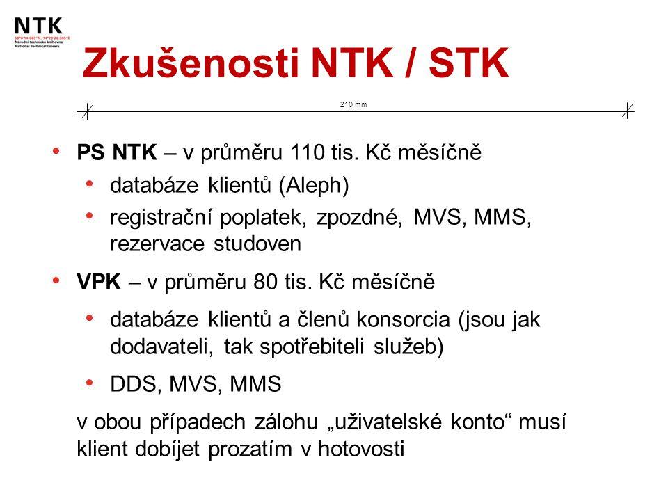 Zkušenosti NTK / STK 210 mm PS NTK – v průměru 110 tis. Kč měsíčně databáze klientů (Aleph) registrační poplatek, zpozdné, MVS, MMS, rezervace studove