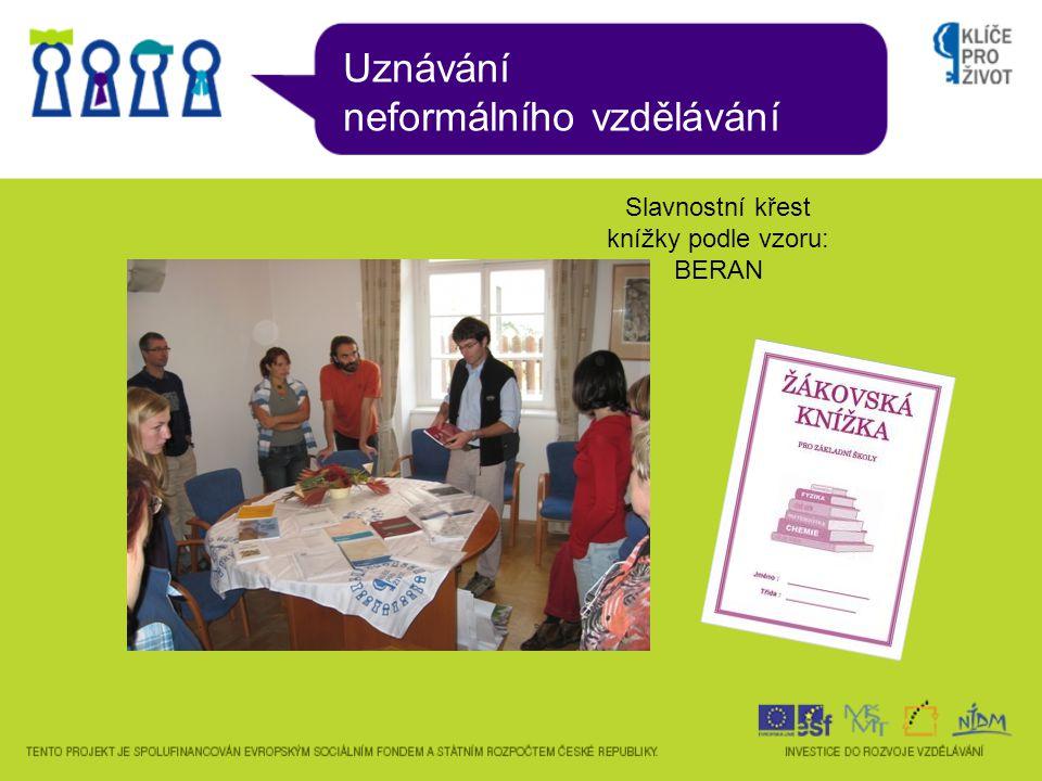 Uznávání neformálního vzdělávání Slavnostní křest knížky podle vzoru: BERAN