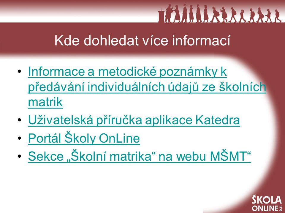 Podpora uživatelů - MŠMT matrika@msmt.cz Kontakty na metodiky sběru dat a zpracovatele dat ze školních matrik: Ing.