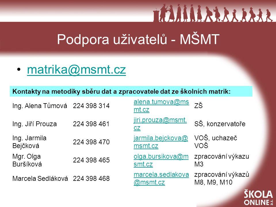 Podpora uživatelů – Škola OnLine hotline@skolaonline.cz 378 229 460 Při chybách zjištěných v aplikaci Matrika provozované MŠMT zasílejte protokol.