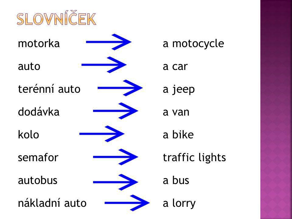 motorka auto terénní auto dodávka kolo semafor autobus nákladní auto a motocycle a car a jeep a van a bike traffic lights a bus a lorry