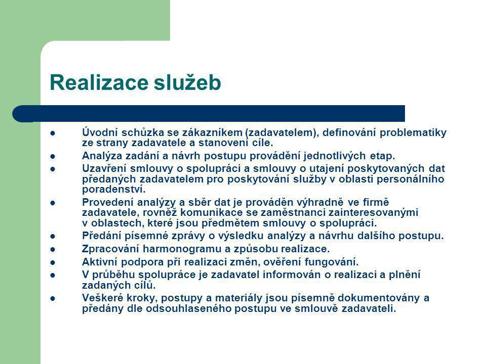 Realizace služeb Úvodní schůzka se zákazníkem (zadavatelem), definování problematiky ze strany zadavatele a stanovení cíle. Analýza zadání a návrh pos
