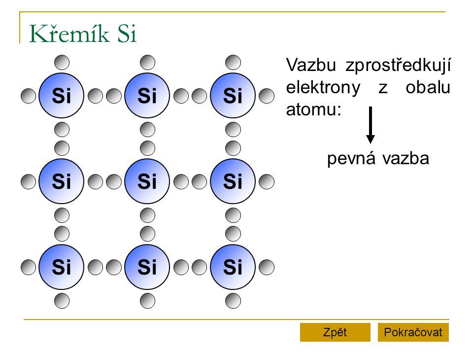 Křemík Si PokračovatZpět K uvolnění elektronu z vazby je potřeba velká energie.