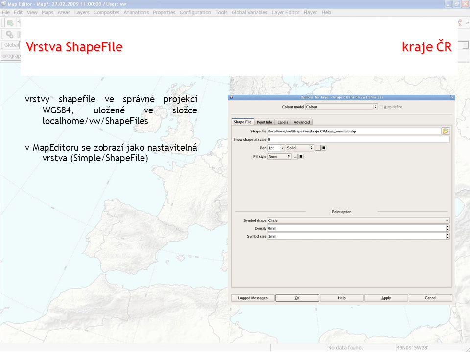 """Aplikace """"Settings vrstvy shapefile ve správné projekci WGS84, uložené ve složce localhome/vw/ShapeFiles v MapEditoru se zobrazí jako nastavitelná vrstva (Simple/ShapeFile) Vrstva ShapeFile kraje ČR"""