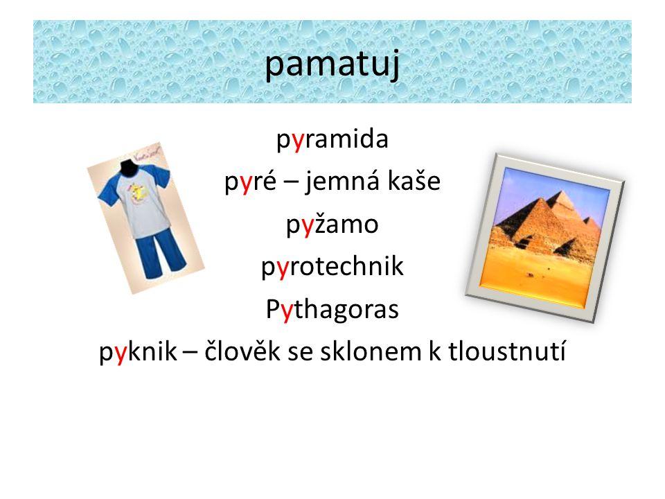 pamatuj pyramida pyré – jemná kaše pyžamo pyrotechnik Pythagoras pyknik – člověk se sklonem k tloustnutí