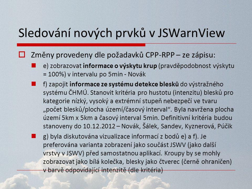 Sledování nových prvků v JSWarnView  Změny provedeny dle požadavků CPP-RPP – ze zápisu: e) zobrazovat informace o výskytu krup (pravděpodobnost výsky