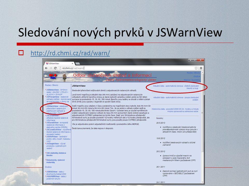 Sledování nových prvků v JSWarnView  http://rd.chmi.cz/rad/warn/ http://rd.chmi.cz/rad/warn/
