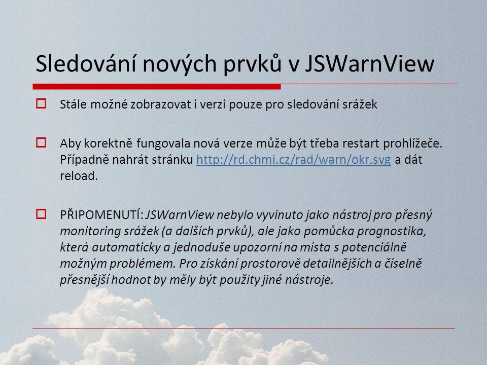Sledování nových prvků v JSWarnView  Stále možné zobrazovat i verzi pouze pro sledování srážek  Aby korektně fungovala nová verze může být třeba res