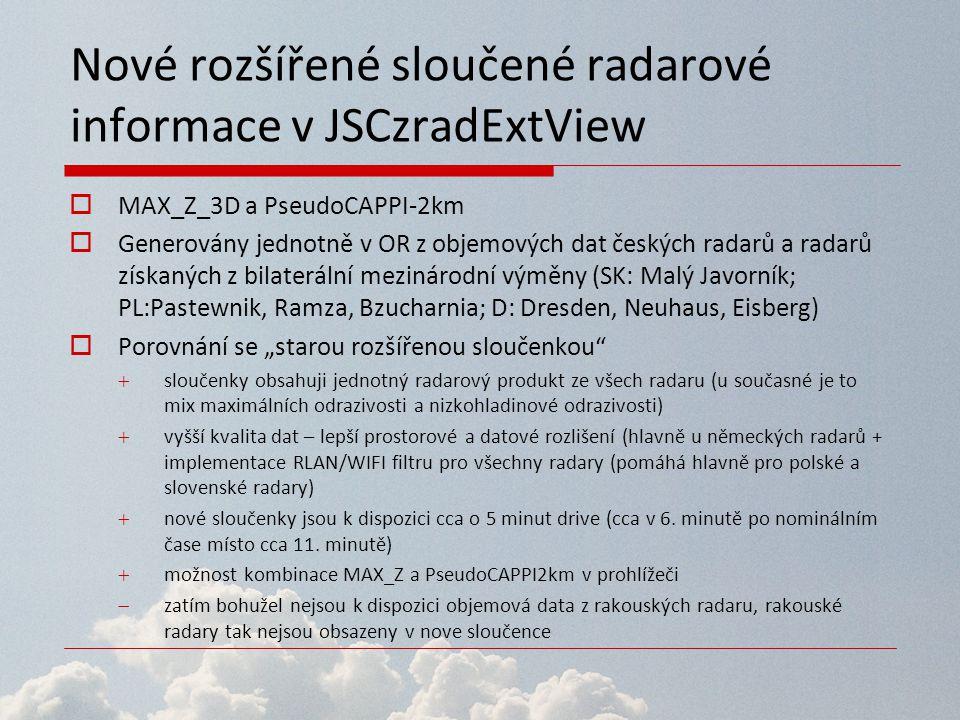 Nové rozšířené sloučené radarové informace v JSCzradExtView  MAX_Z_3D a PseudoCAPPI-2km  Generovány jednotně v OR z objemových dat českých radarů a