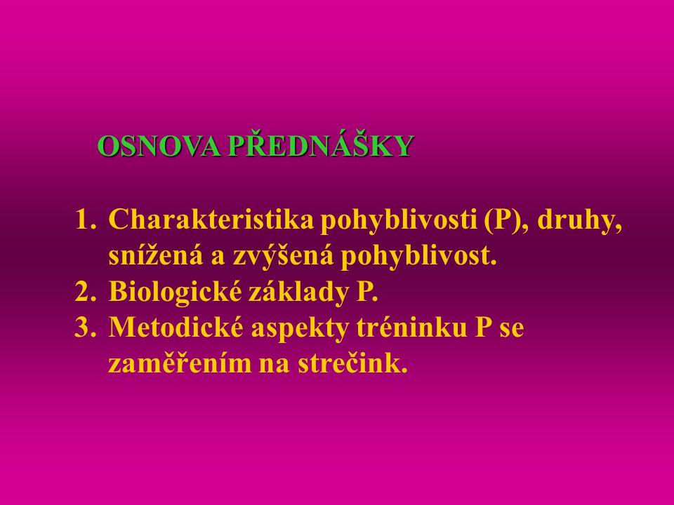 OSNOVA PŘEDNÁŠKY 1.Charakteristika pohyblivosti (P), druhy, snížená a zvýšená pohyblivost. 2.Biologické základy P. 3.Metodické aspekty tréninku P se z