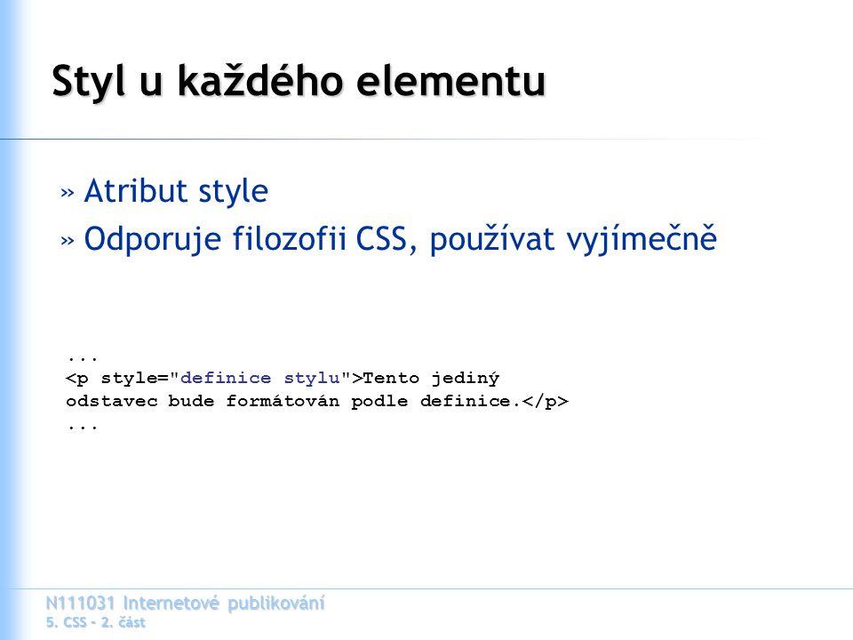 N111031 Internetové publikování 5. CSS – 2.