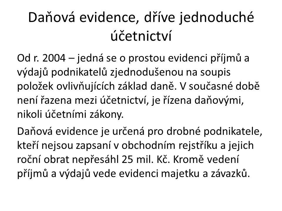 Daňová evidence, dříve jednoduché účetnictví Od r.