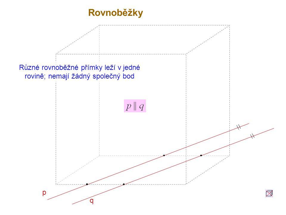 p q Různé rovnoběžné přímky leží v jedné rovině; nemají žádný společný bod