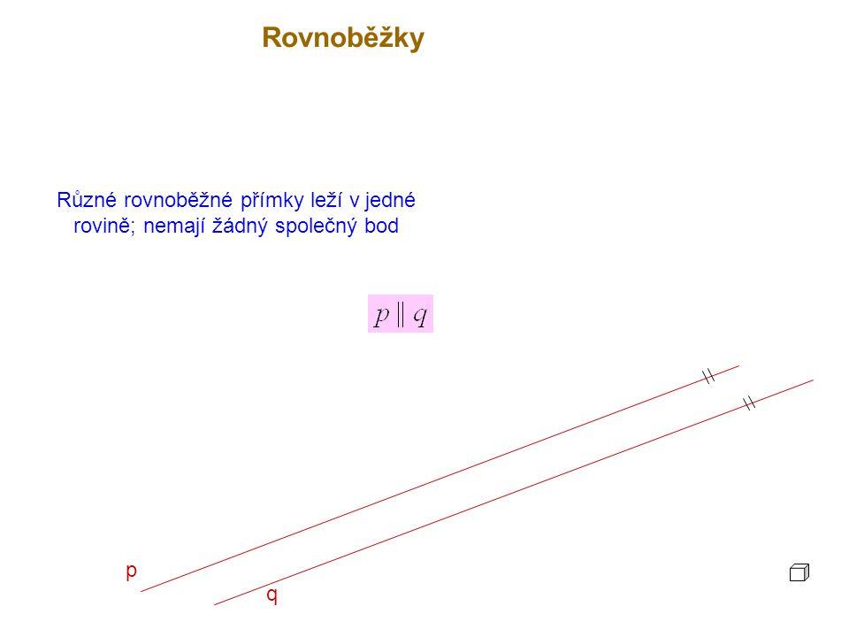 p = q Rovnoběžky Totožné rovnoběžné přímky mají všechny body společné