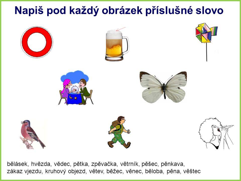 Napiš pod každý obrázek příslušné slovo bělásek, hvězda, vědec, pětka, zpěvačka, větrník, pěšec, pěnkava, zákaz vjezdu, kruhový objezd, větev, běžec,