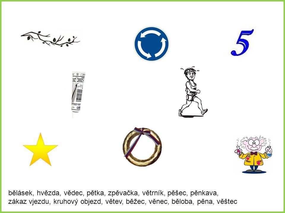Napiš pod každý obrázek příslušné slovo Zákaz vjezdu pěna větrník větev běloba Věštec bělásek kruhový objezd pětka běžec Pěnkava pěšky zpěvačka hvězda věnec vědec