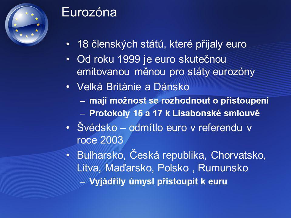 Eurozóna 18 členských států, které přijaly euro Od roku 1999 je euro skutečnou emitovanou měnou pro státy eurozóny Velká Británie a Dánsko –mají možno