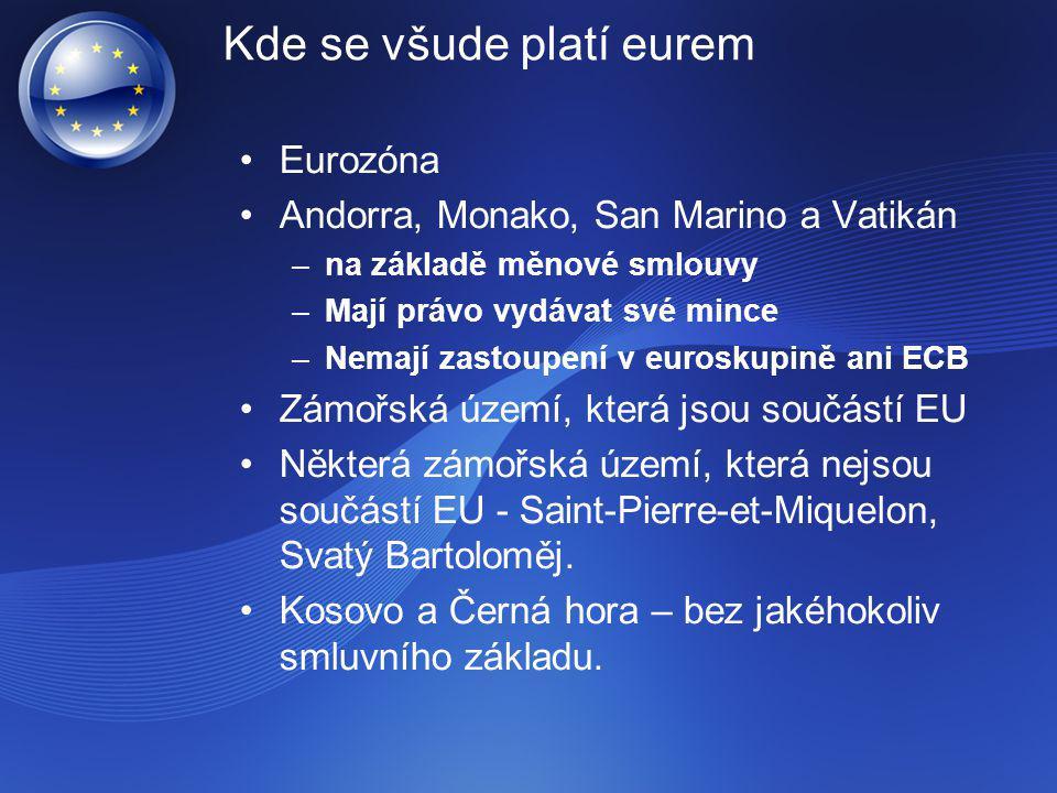 Kde se všude platí eurem Eurozóna Andorra, Monako, San Marino a Vatikán –na základě měnové smlouvy –Mají právo vydávat své mince –Nemají zastoupení v