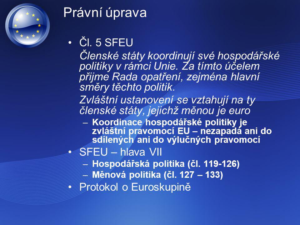 Právní úprava Čl. 5 SFEU Členské státy koordinují své hospodářské politiky v rámci Unie. Za tímto účelem přijme Rada opatření, zejména hlavní směry tě