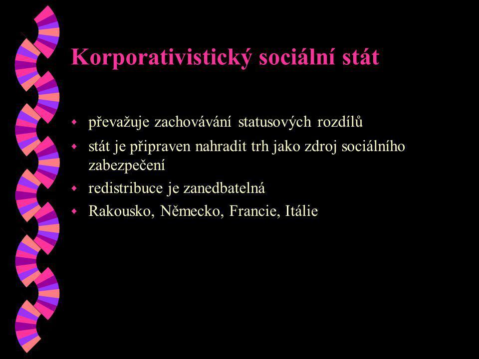 Korporativistický sociální stát w převažuje zachovávání statusových rozdílů w stát je připraven nahradit trh jako zdroj sociálního zabezpečení w redis