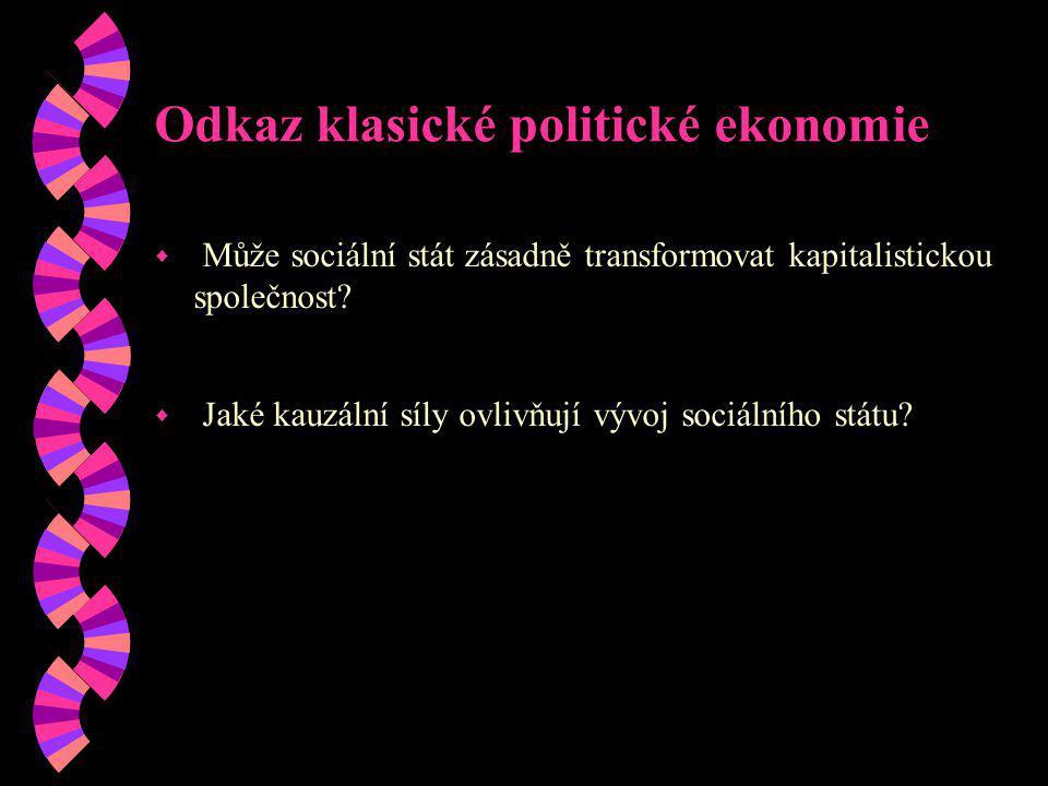 Odkaz klasické politické ekonomie w Může sociální stát zásadně transformovat kapitalistickou společnost? w Jaké kauzální síly ovlivňují vývoj sociální