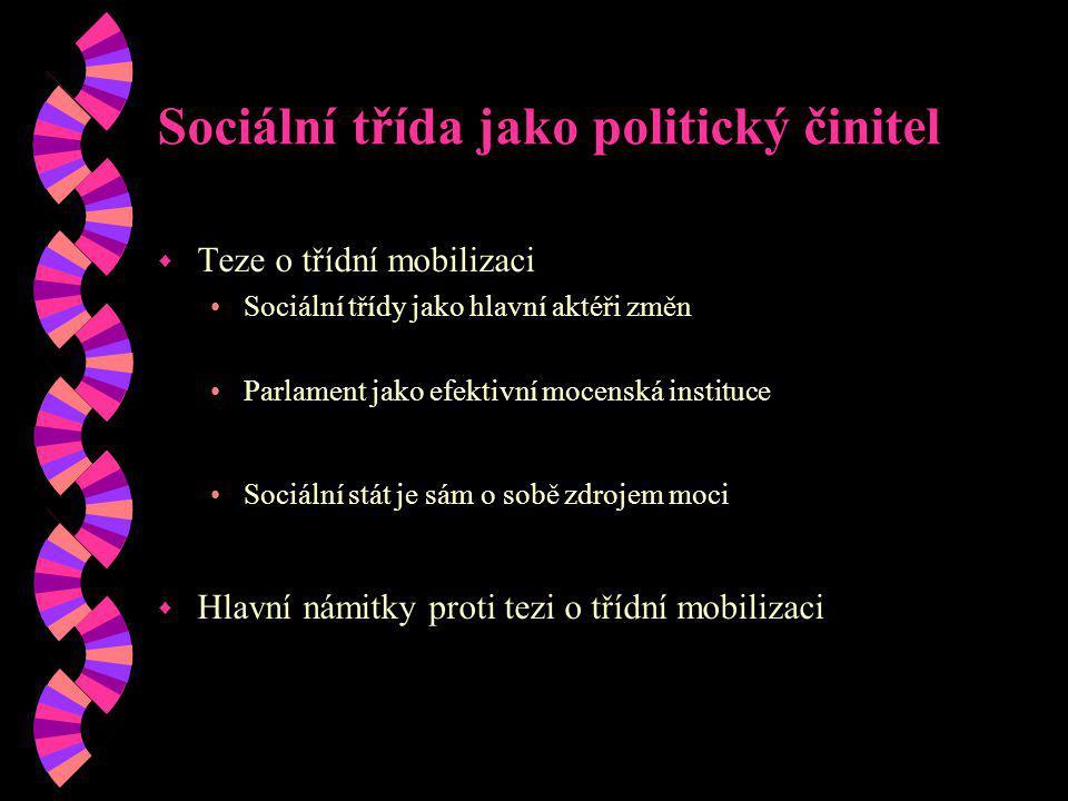 Sociální třída jako politický činitel w Teze o třídní mobilizaci Sociální třídy jako hlavní aktéři změn Parlament jako efektivní mocenská instituce So