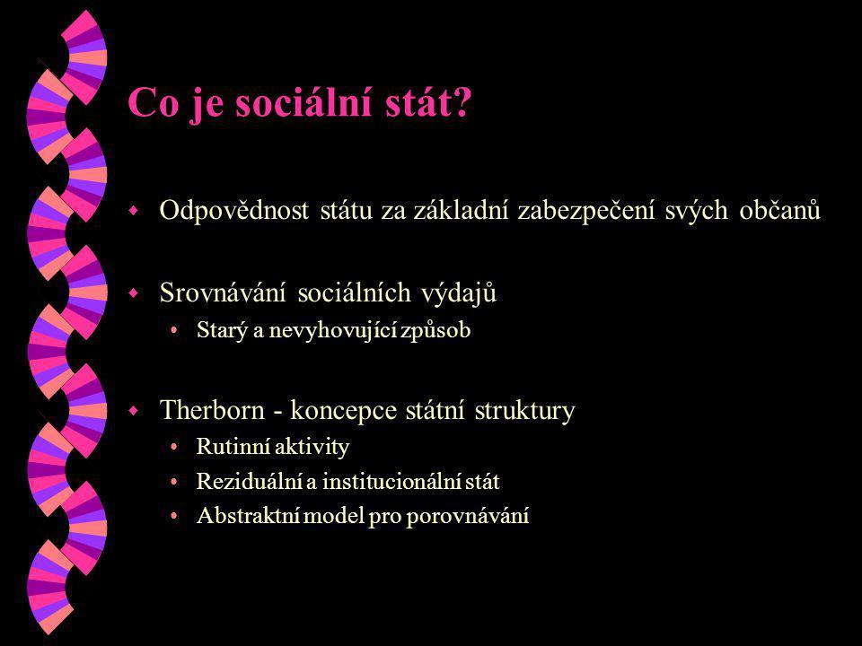 Co je sociální stát? w Odpovědnost státu za základní zabezpečení svých občanů w Srovnávání sociálních výdajů Starý a nevyhovující způsob w Therborn -