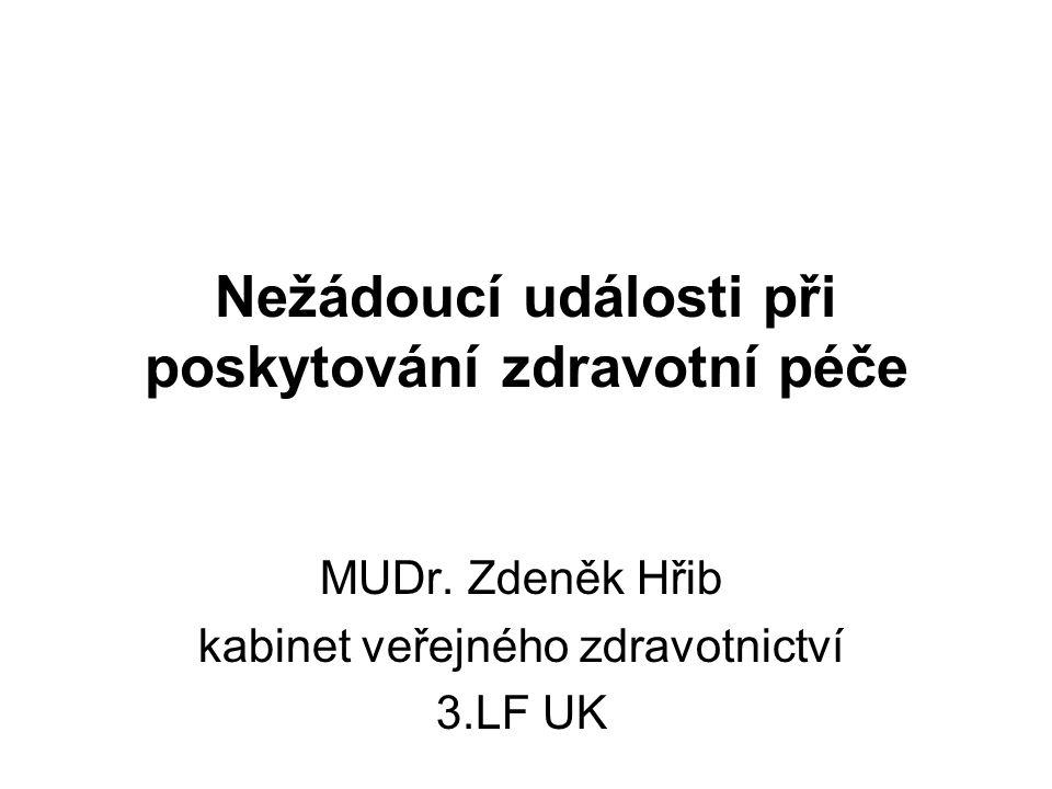 Nežádoucí události při poskytování zdravotní péče MUDr. Zdeněk Hřib kabinet veřejného zdravotnictví 3.LF UK