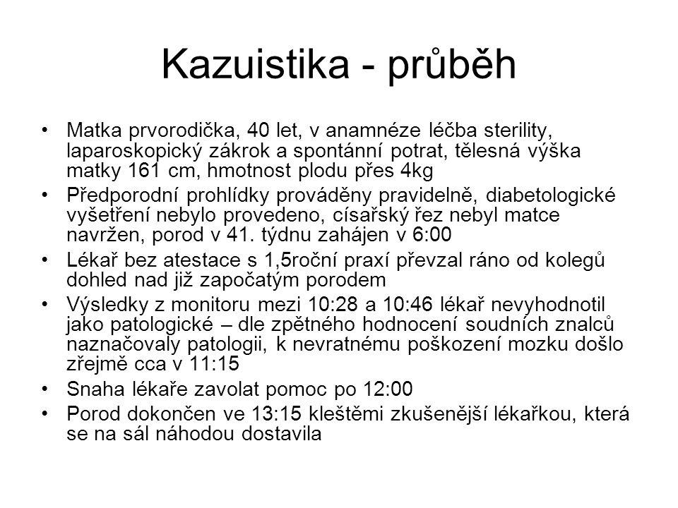 Kazuistika - průběh Matka prvorodička, 40 let, v anamnéze léčba sterility, laparoskopický zákrok a spontánní potrat, tělesná výška matky 161 cm, hmotn