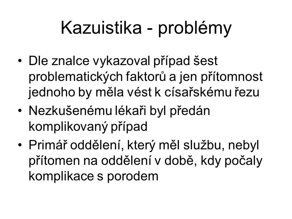 Kazuistika - problémy Dle znalce vykazoval případ šest problematických faktorů a jen přítomnost jednoho by měla vést k císařskému řezu Nezkušenému lék