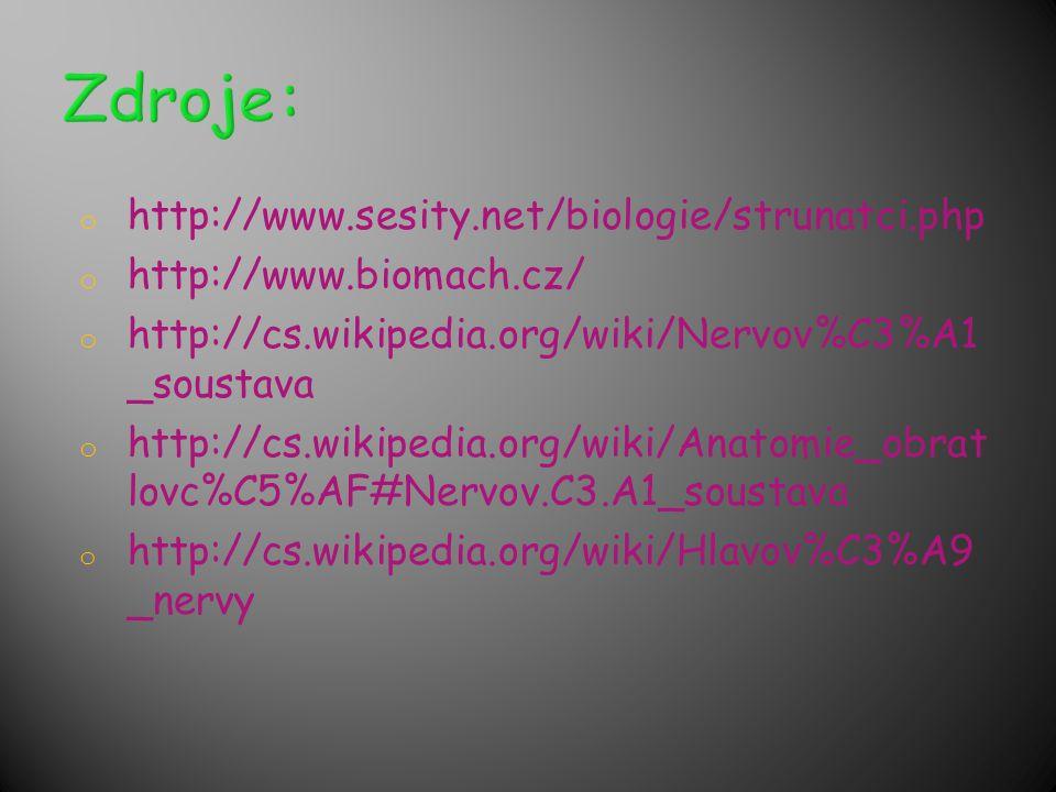 o http://www.sesity.net/biologie/strunatci.php o http://www.biomach.cz/ o http://cs.wikipedia.org/wiki/Nervov%C3%A1 _soustava o http://cs.wikipedia.or