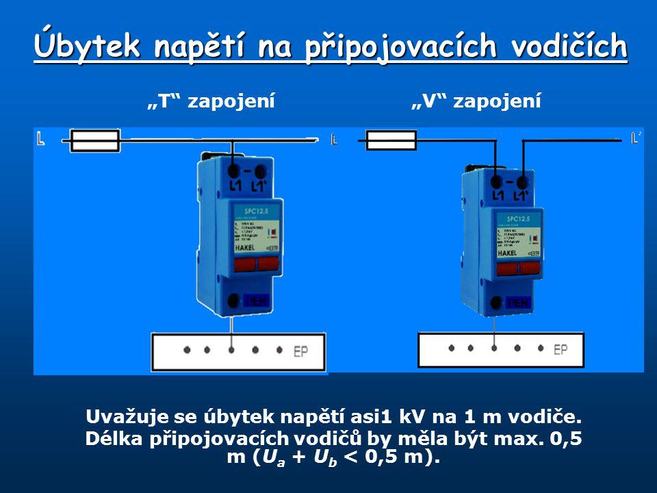 Uvažuje se úbytek napětí asi1 kV na 1 m vodiče.Délka připojovacích vodičů by měla být max.