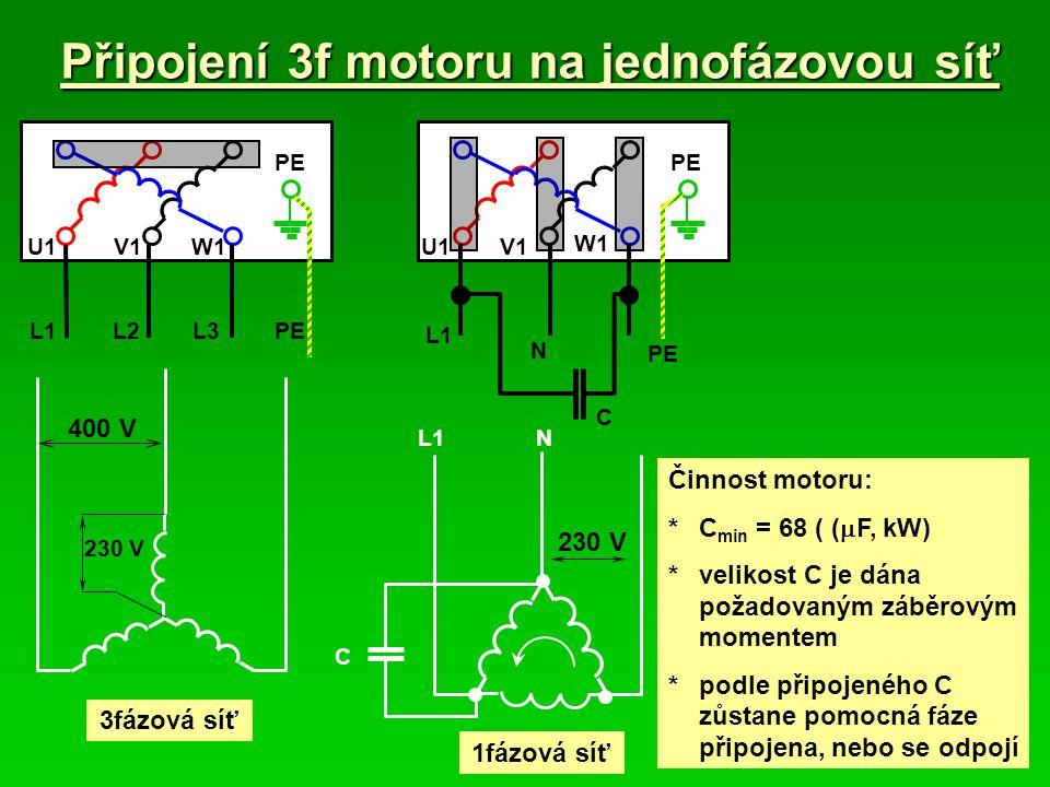 Připojení 3f motoru na jednofázovou síť V1W1 PE U1 L1L3L2 PE 230 V 400 V 3fázová síť PE V1 W1 U1 L1 N C 230 V 1fázová síť C L1N Činnost motoru: *C min